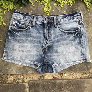 Free People We The Free Button Fly Raw Hem Shorts